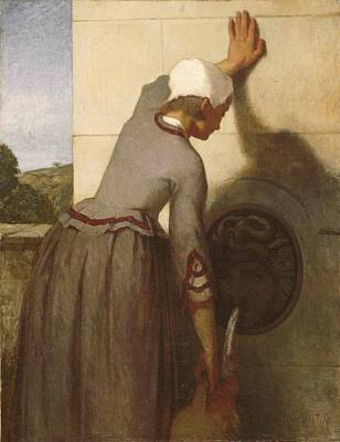 William Morris Hunt Painting - Girl At The Fountain by William Morris Hunt