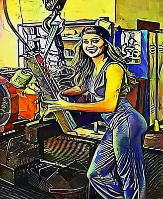 Optimistic Drawing - girl at work, Crane - My WWW vikinek-art.com by Viktor Lebeda