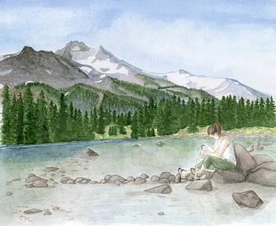 Girl By Lake Print by Caroline Moses