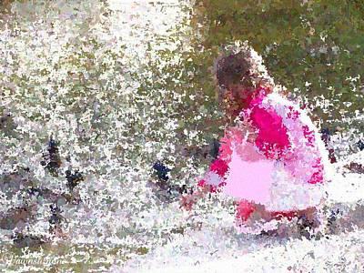Photograph - Girl Feeding Ducks  Impressionist Art by Dawn Hay