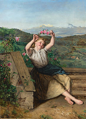 Wreath Painting - Girl Holding Up A Wreath Of Roses by Ferdinand Georg Waldmuller