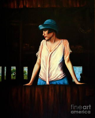 Women Painting - Girl In A Barn by Georgia Doyle  brushhandle