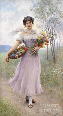 Girl In A Lilac-coloured Dress With Bouquet Of Flowers Print by Celestial Images