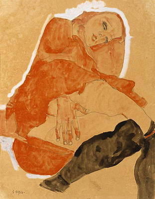 Girl In Red Robe And Black Stockings 1911 Print by Egon Schiele
