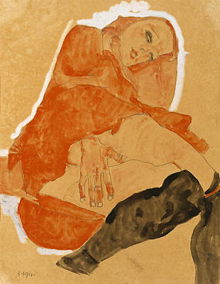 Girl In Red Robe And Black Stockings Print by Egon Schiele