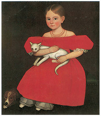 Girl In Red With Her Cat And Dog Print by Ammi Phillips