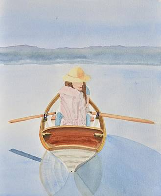 Distant Mountains Painting - Girl In Rowboat by Linda Brody