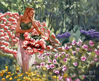 Girl Painting - Girl In The Garden by Tim Gilliland