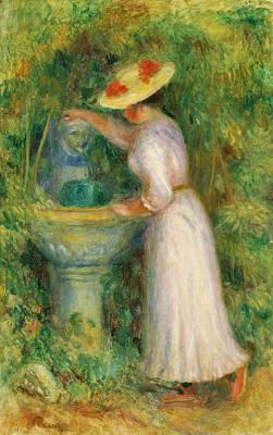 Pierre-auguste Renoir Painting - Girl Near A Fountain by Pierre-Auguste Renoir
