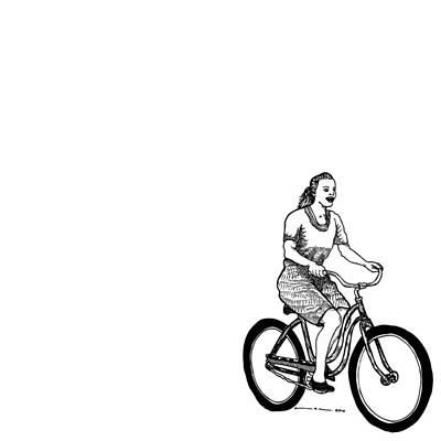 Bike Drawing - Girl On A Bike by Karl Addison
