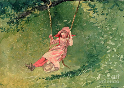 Pink Painting - Girl On A Swing by Winslow Homer