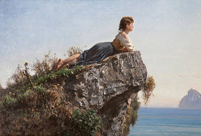Filippo Palizzi Painting - Girl On The Rock In Sorrento by Filippo Palizzi