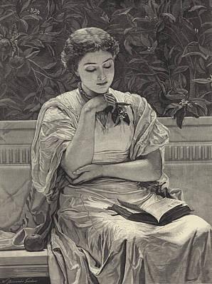 Girl Reading Print by Charles Edward Perugini