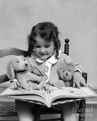 Childrens Book Photograph - Girl Reading Storybook, C.1930s by H. Armstrong Roberts/ClassicStock