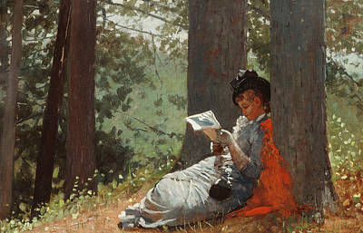 Girl Reading Under An Oak Tree Print by Winslow Homer
