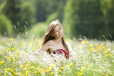 Girl Revolves Cheerfully In A Meadow Print by Wolfgang Steiner