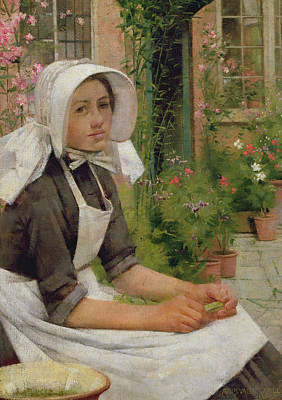 Green Beans Painting - Girl Shelling Peas by Albert Chevallier Tayler