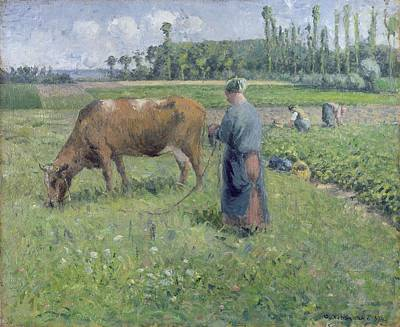 Livestock Painting - Girl Tending A Cow In Pasture by Camille Pissarro