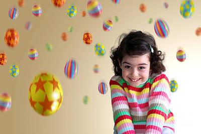 Laugh Photograph - Girl Under Eggs by Carlos Caetano