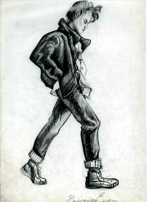 Tennis Shoe Drawing - Girl Walking Self Portrait by Genevieve Esson