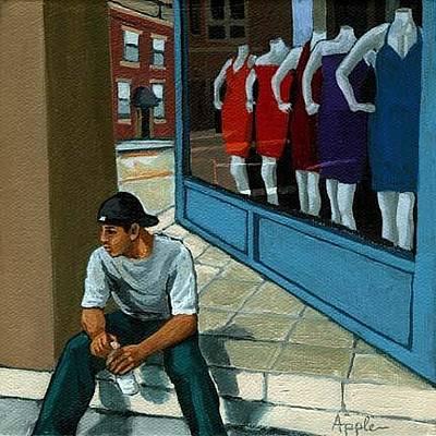Manikins Painting - Girl Watching by Linda Apple