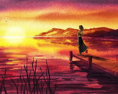 Shell Painting - Girl Watching Sunset At The Lake by Irina Sztukowski