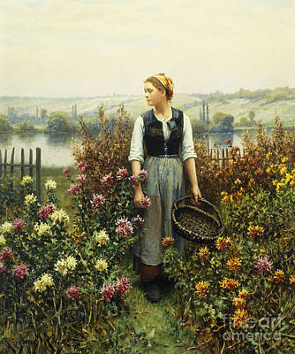 Girl With A Pink Dress Painting - Girl With A Basket In A Garden by Daniel Ridgway Knight