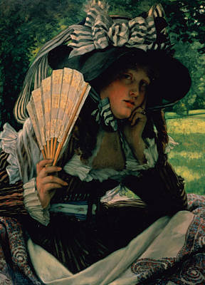 Contemplating Painting - Girl With A Fan by James Jacques Joseph Tissot