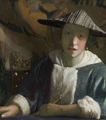 Girl With A Flute Print by Attributed To Johannes Vermeer