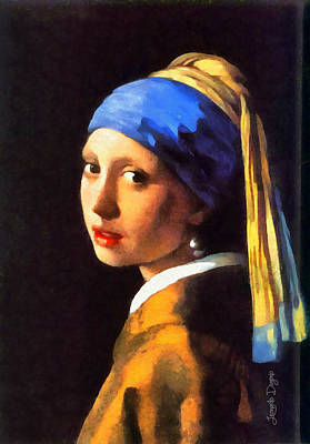 Women Painting - Girl With A Pearl Earring By Johannes Vermeer Revisited by Leonardo Digenio