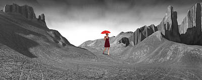 Young Digital Art - Girl With A Red Umbrella 2 by Mike McGlothlen