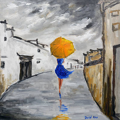 Girl With A Yellow Umbrella Print by Daniel Xiao