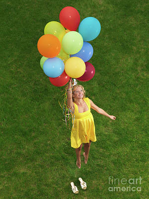 Girl With Air Balloons Print by Oleksiy Maksymenko