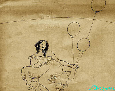 Drawing - Girl With Balloons In Storm by Ocean