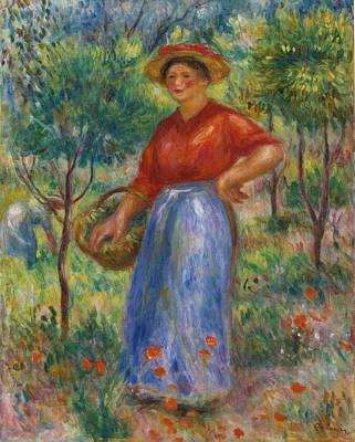Pierre-auguste Renoir Painting - Girl With Basket. Gabrielle In The Garden by Pierre-Auguste Renoir