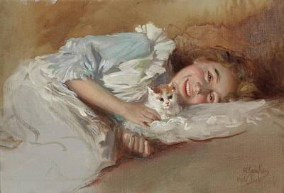 Cat Painting - Girl With Cat by Horazio Gaigher