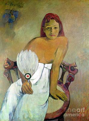 Girl With Fan Print by Paul Gauguin