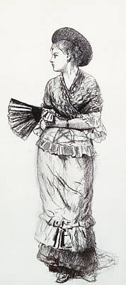 Girl With Fan Print by Winslow Homer
