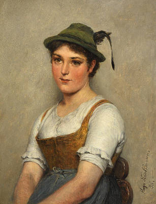 Painting - Girl With Green Hat by Hugo Kauffmann