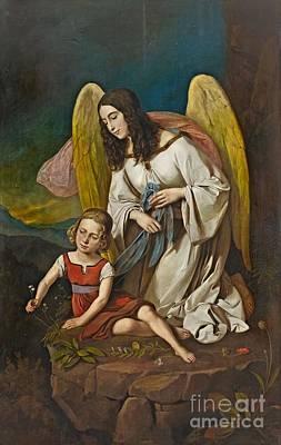 Girl With Guardian Angel Print by Josef von