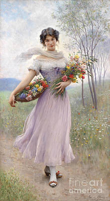 Girl With Lilac Dress Print by Eugen von