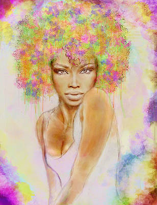 Rihanna Mixed Media - Girl With New Hair Style by Lilia D