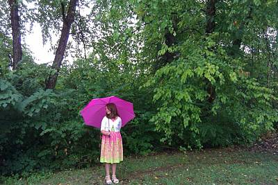 Photograph - Girl With Pink Umbrella by B L Qualls