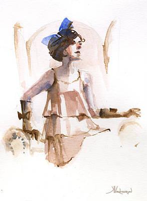 Girl With The Blue Ribbon Print by Kristina Vardazaryan
