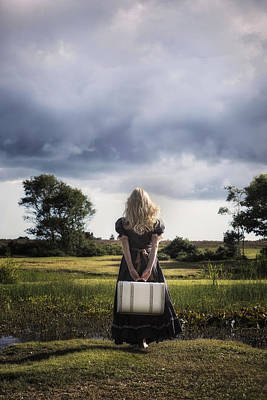 Thoughtful Photograph - Girl With White Suitcase by Joana Kruse