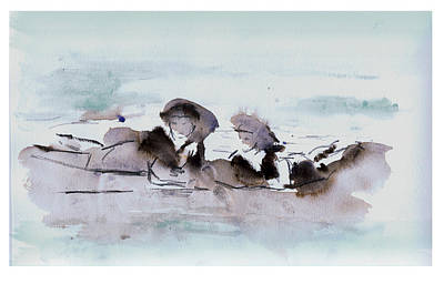 Cloudy Day Drawing - Girls At The Beach by Lori Childers