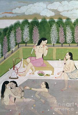 Garden Drawing - Girls Bathing by Indian School