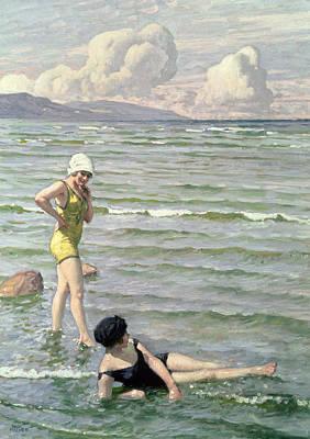 Girls Bathing Print by Paul Fischer