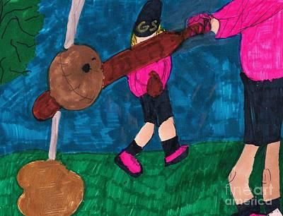 Girls Softball Practice Original by Elinor Rakowski