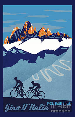 Cycles Painting - Giro D'italia Cycling Poster by Sassan Filsoof